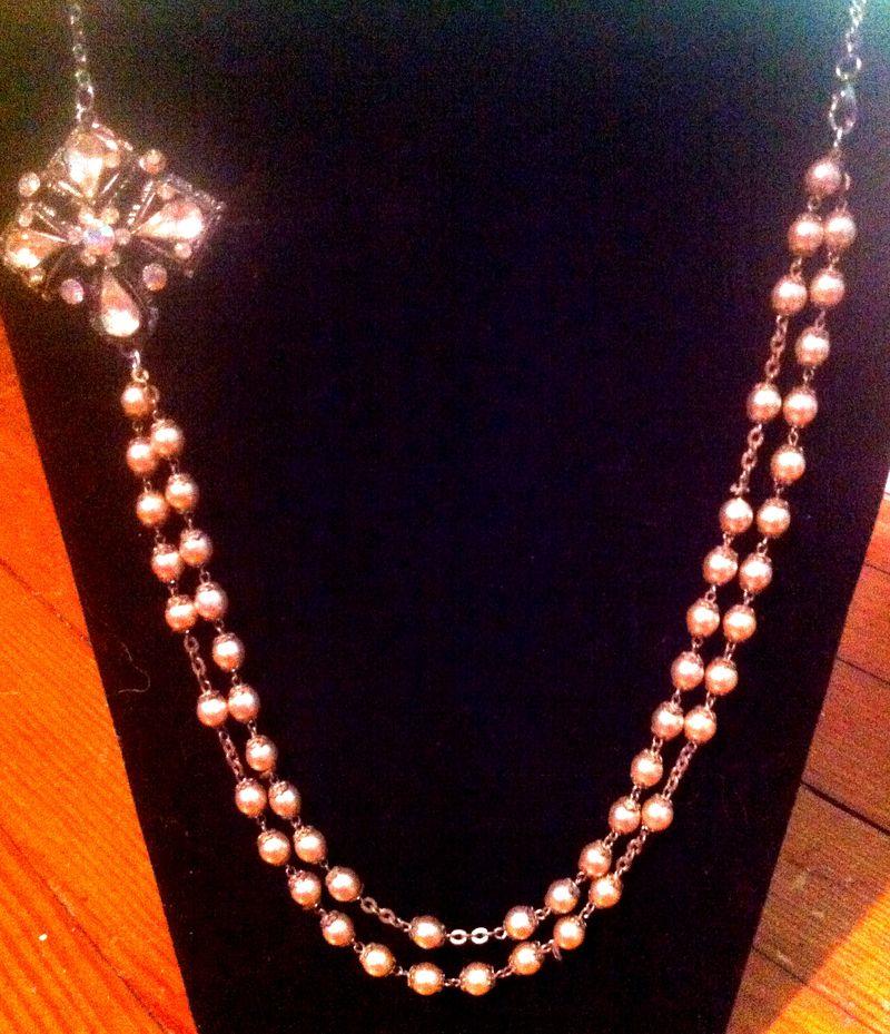 brooch, pearl, rosary bead, wedding, bib, vintage necklace
