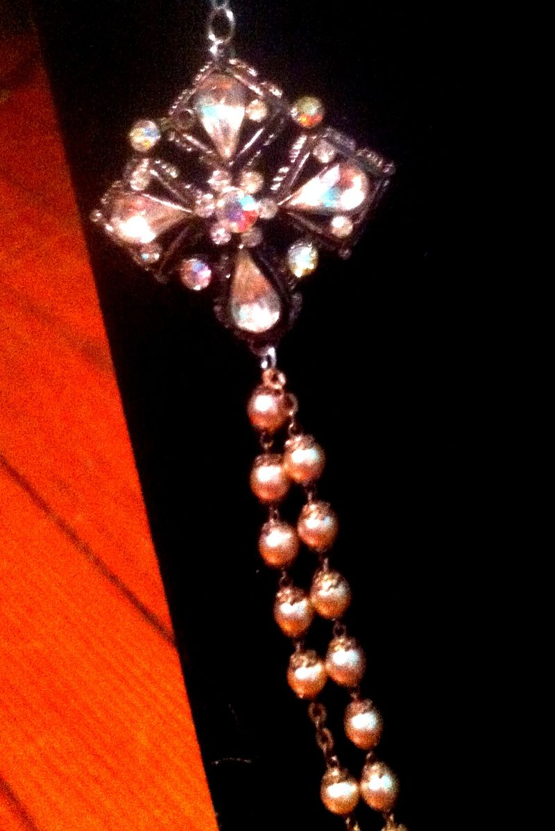 Vintage, Brooch, Pearl, Rosary, Bib Wedding, Necklace